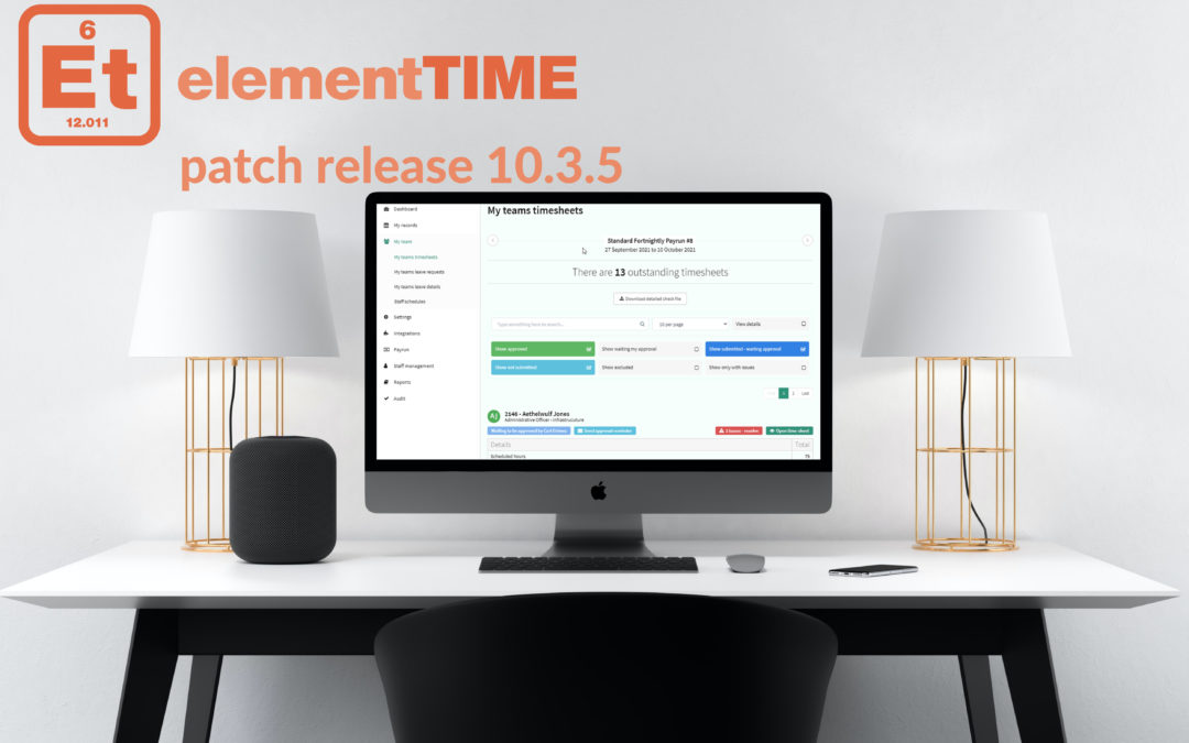 elementTIME patch release 10.3.5 – New timesheet filters